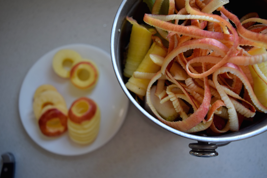 compost and apple peels
