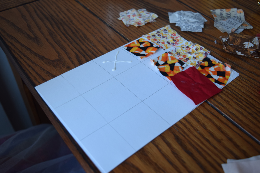Quilted card craft with glue