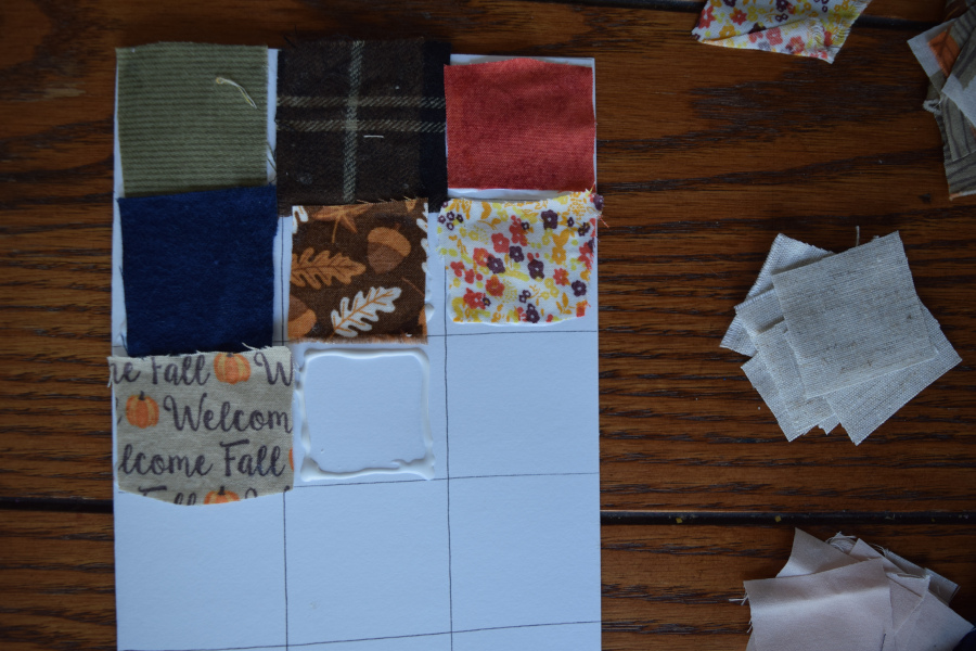 Quilted card with graph lines and glue