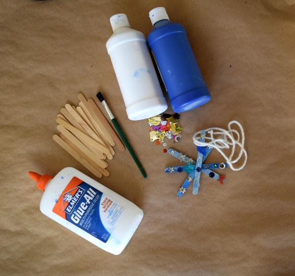 glue, popsicle sticks, paint brush, paint