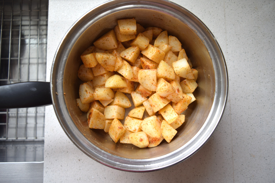 seasoned the crispy potatoes in pot
