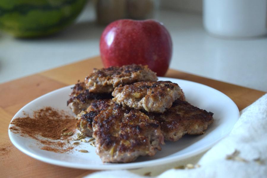 clean cinnamon apple breakfast sausage on plate