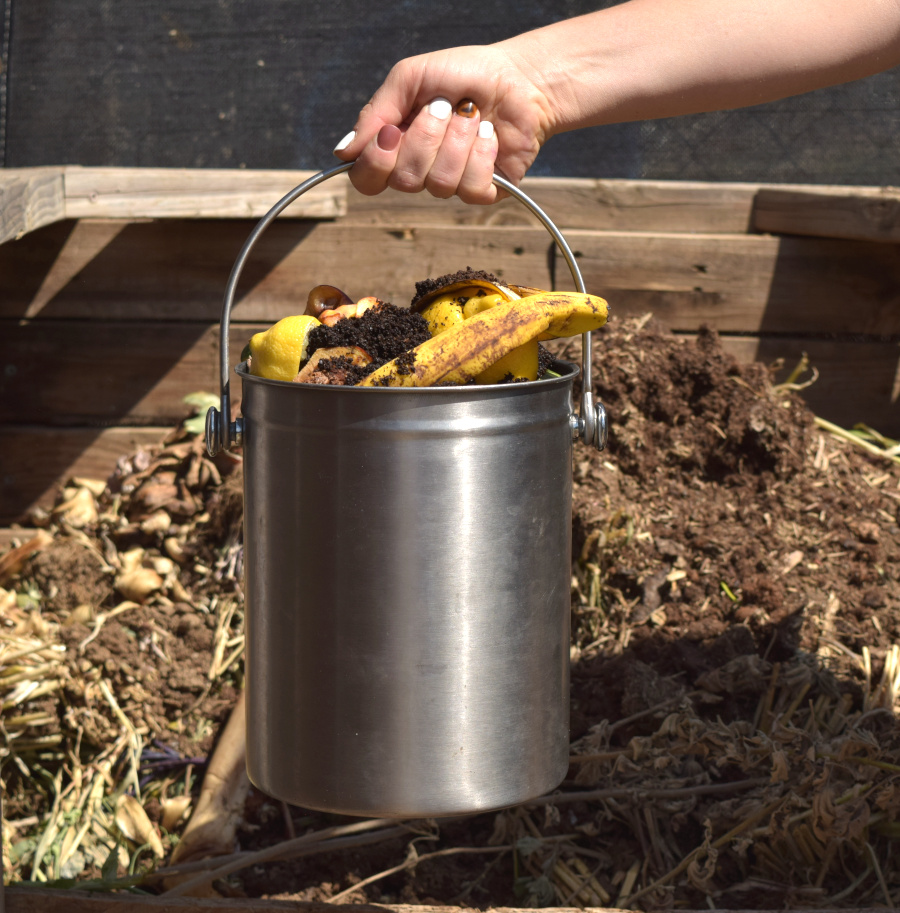 hand with compost bucket