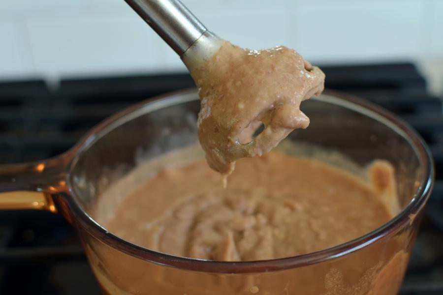 blended beans on stovetop